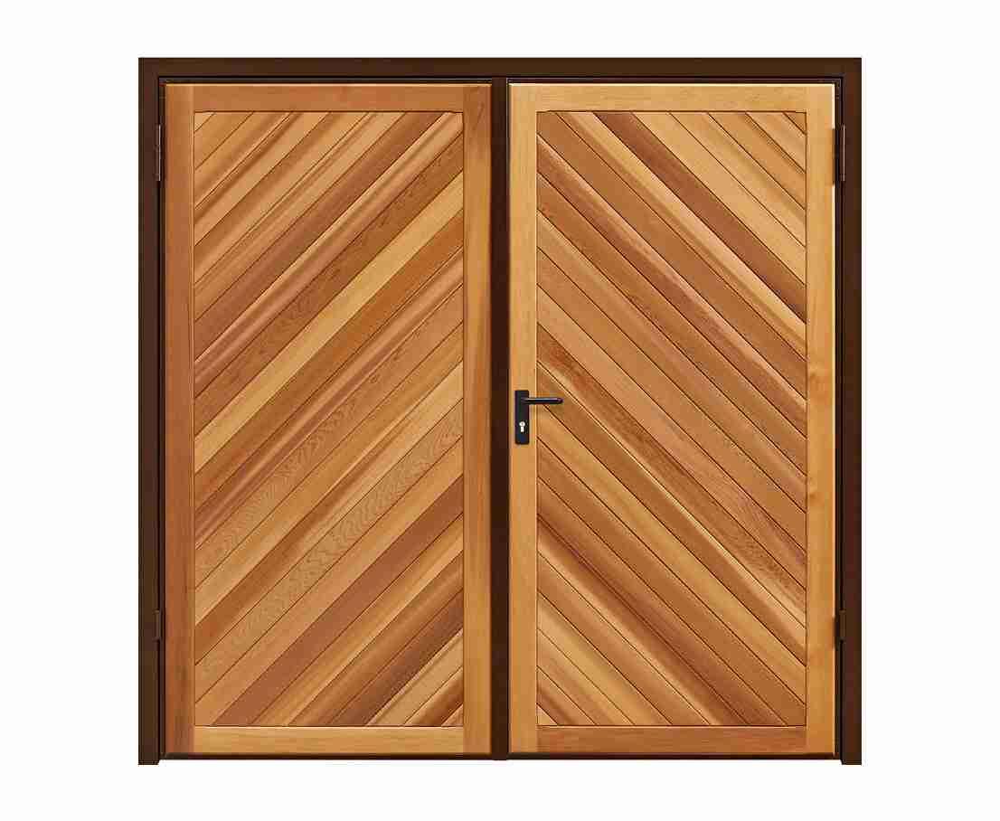 timber chevron side hinged garage door