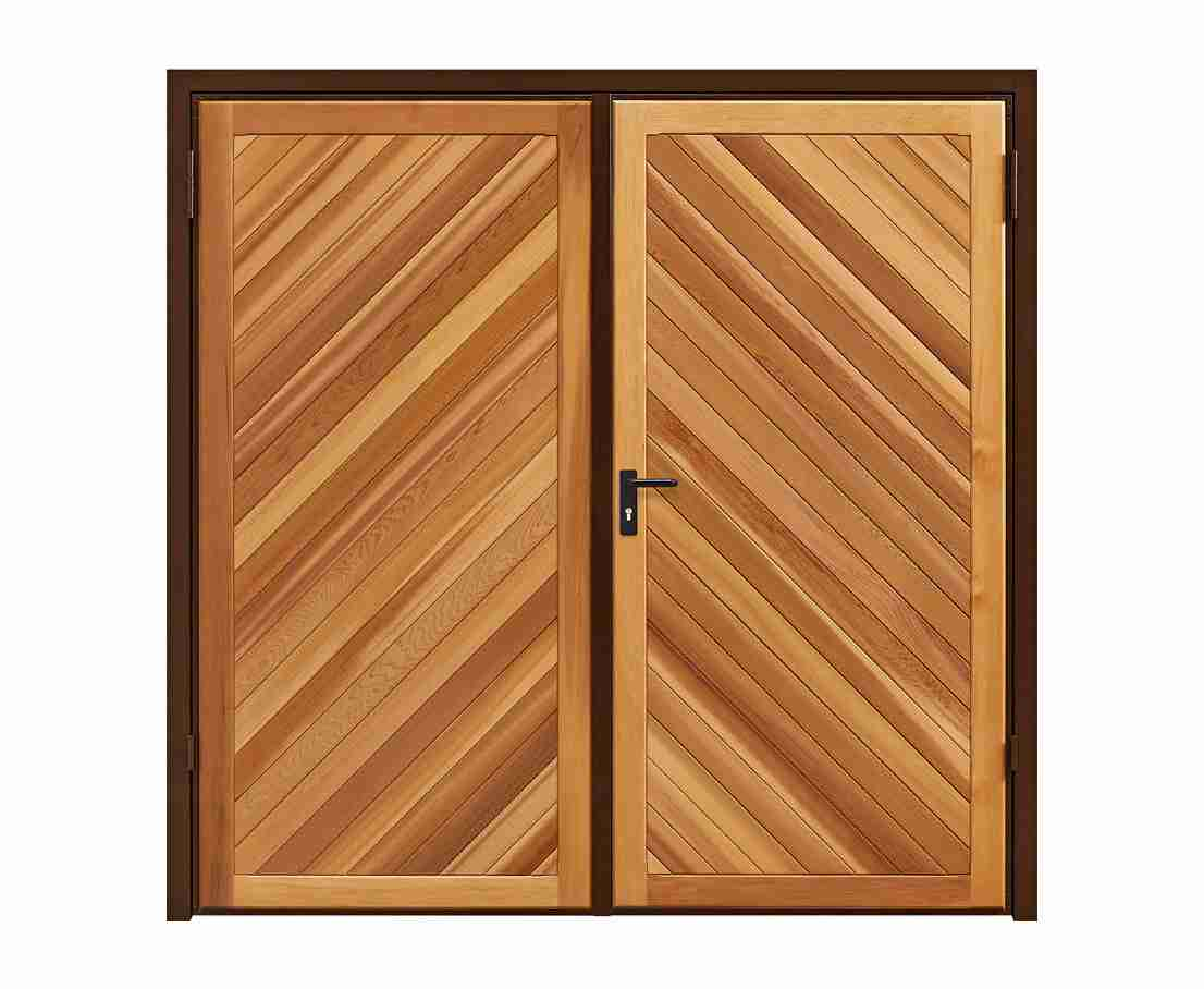 timber chevron side hinged garage door