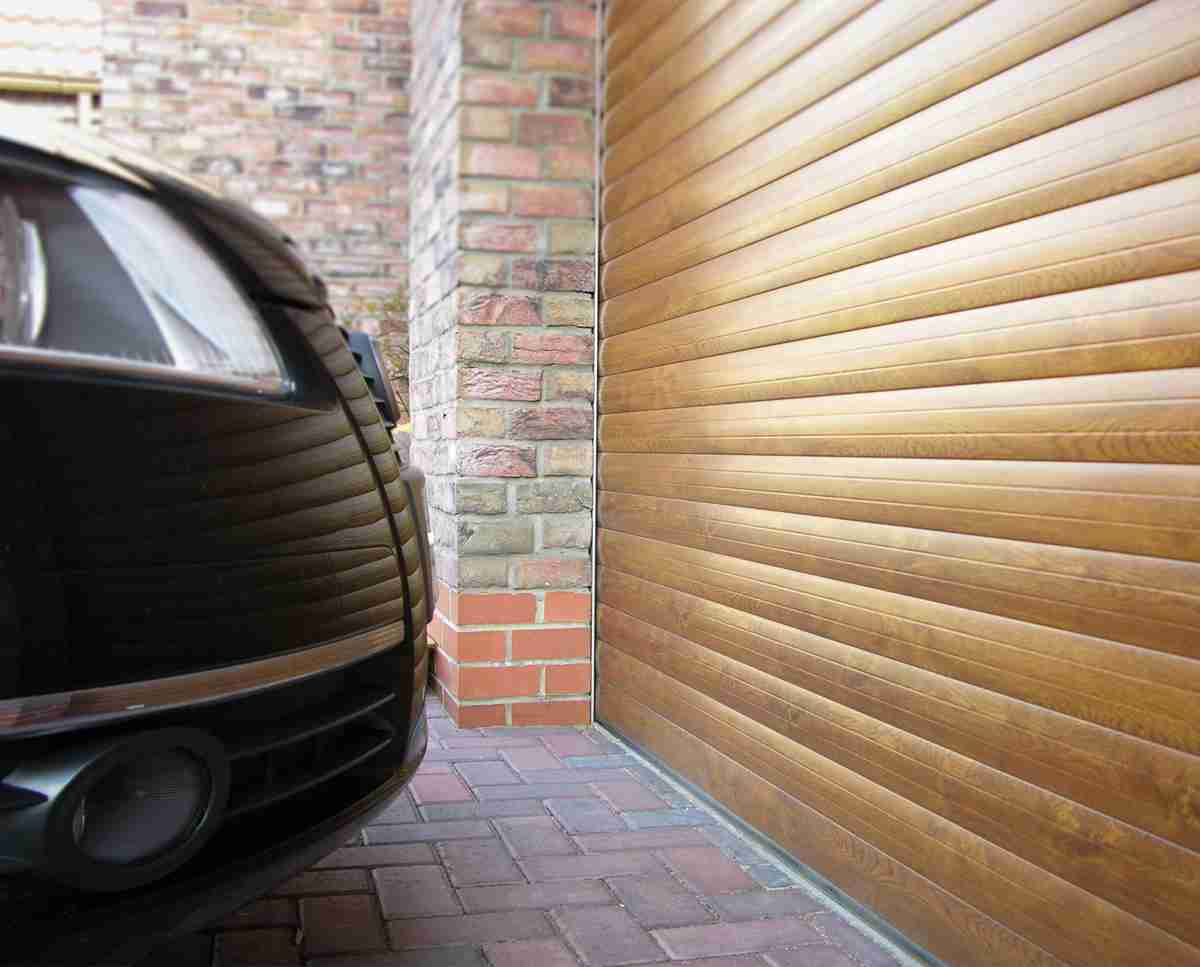 roller garage door close up