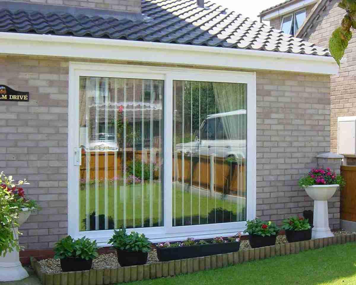 sliding patio door leading to garden