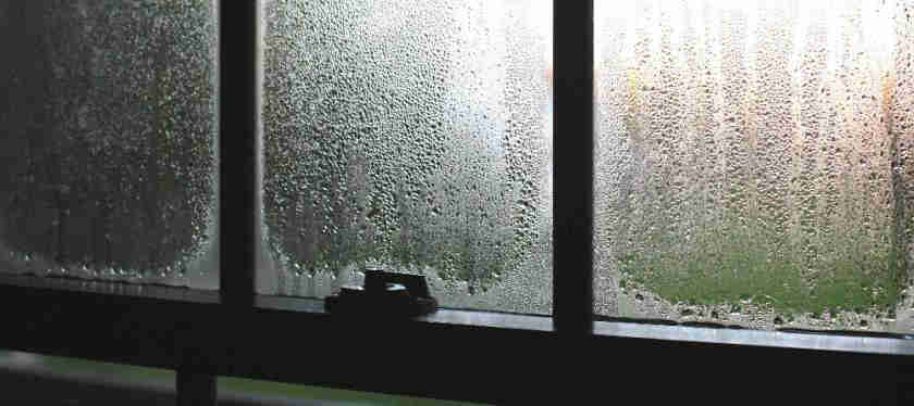 gap condensation on inside of window