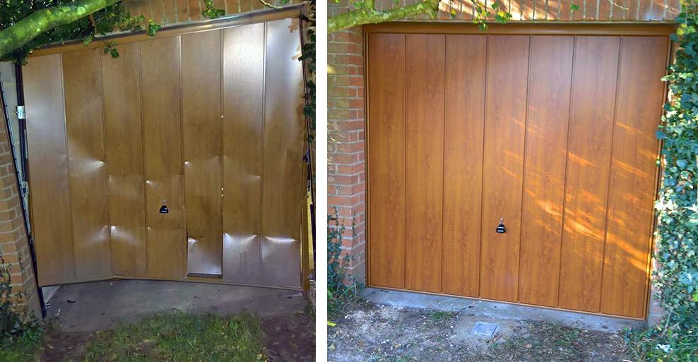 garage door after it had been ram raied