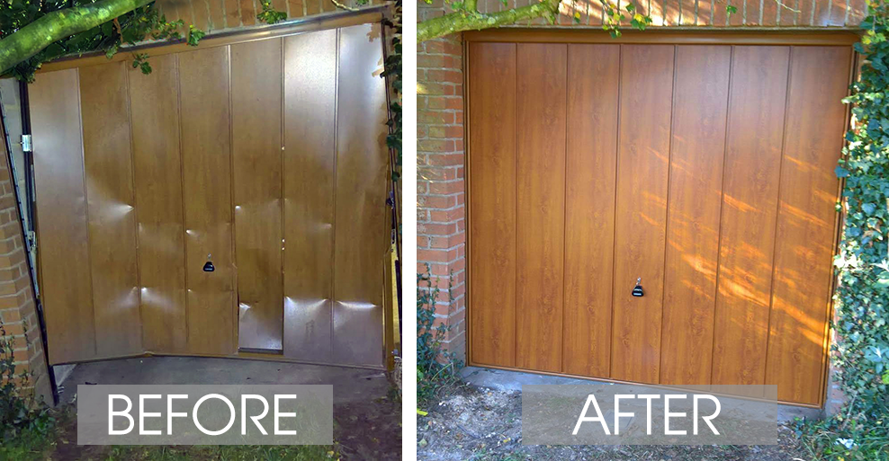 Before and After a Garage Door was Ram Raided