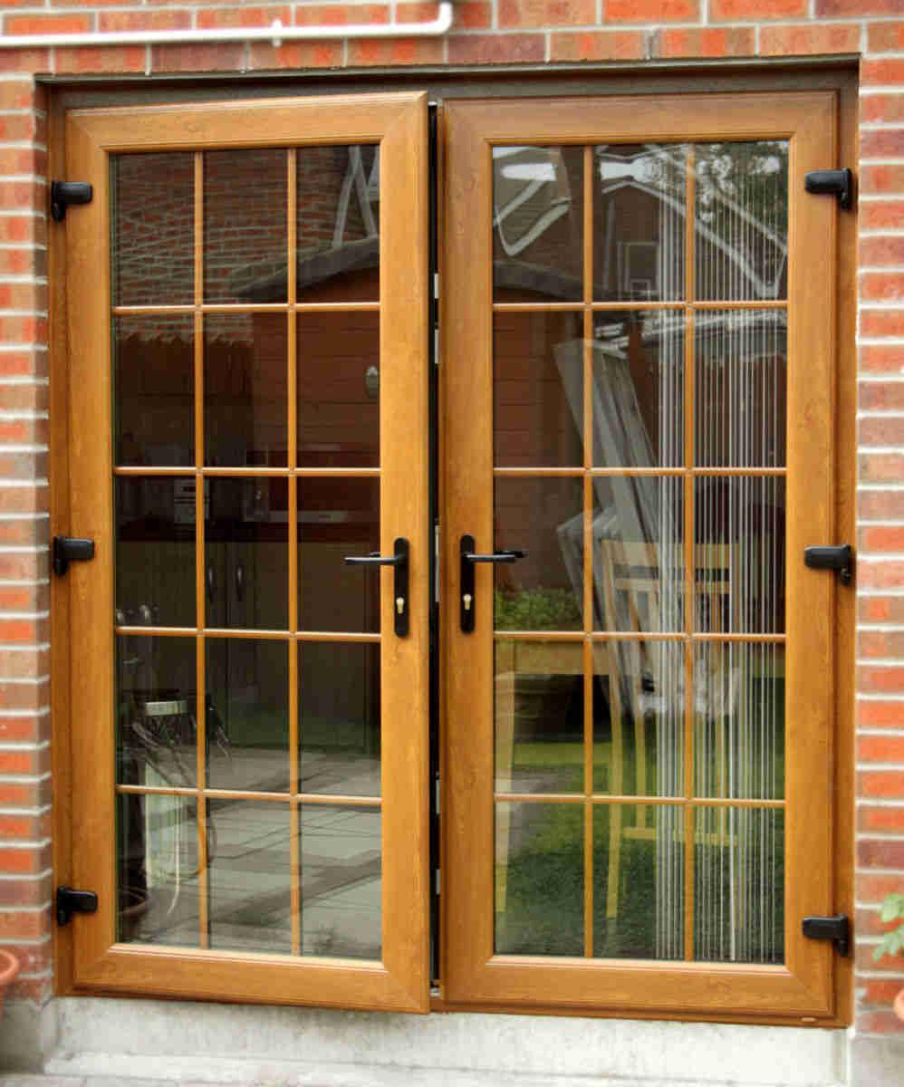 french doors in golden oak